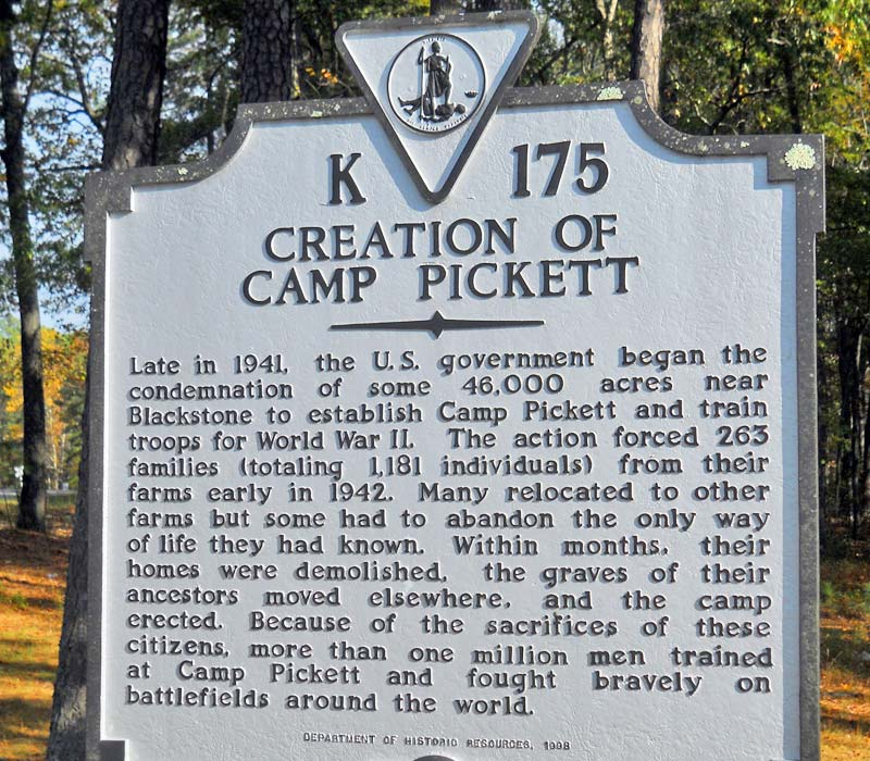 Camp Pickett Sign